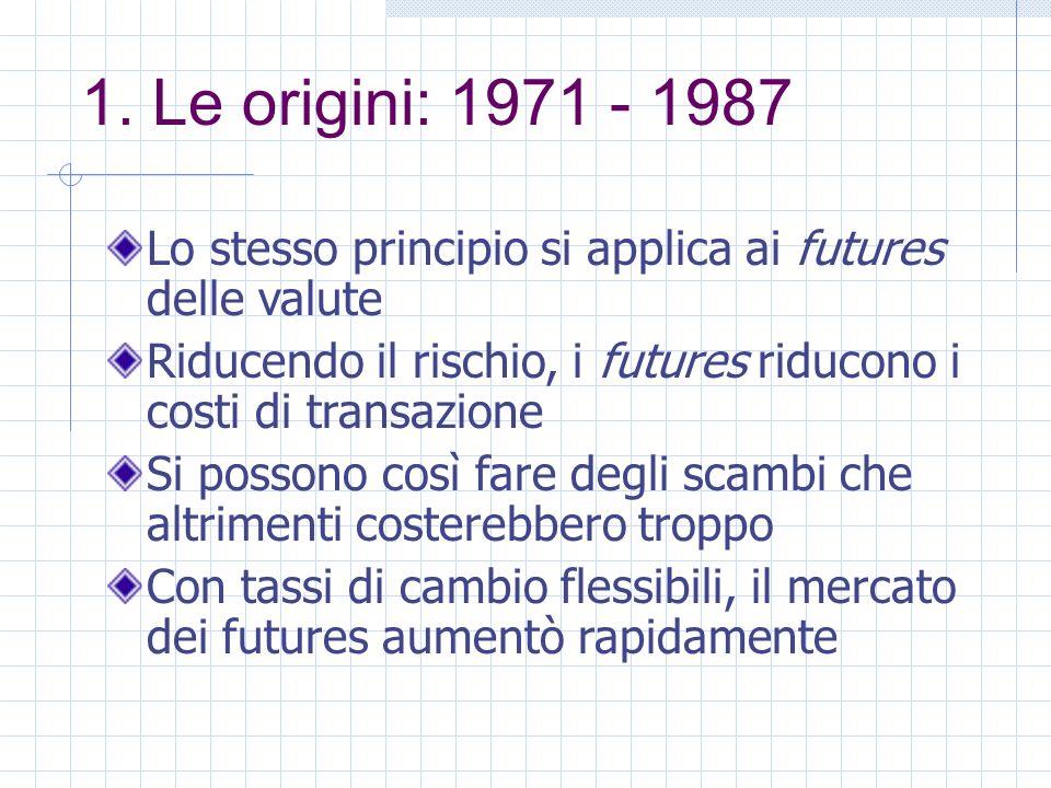 1. Le origini: 1971 - 1987 Lo stesso principio si applica ai futures delle valute Riducendo il rischio, i futures riducono i costi di transazione Si p