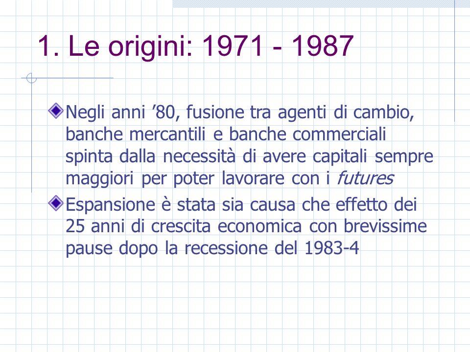 1. Le origini: 1971 - 1987 Negli anni 80, fusione tra agenti di cambio, banche mercantili e banche commerciali spinta dalla necessità di avere capital