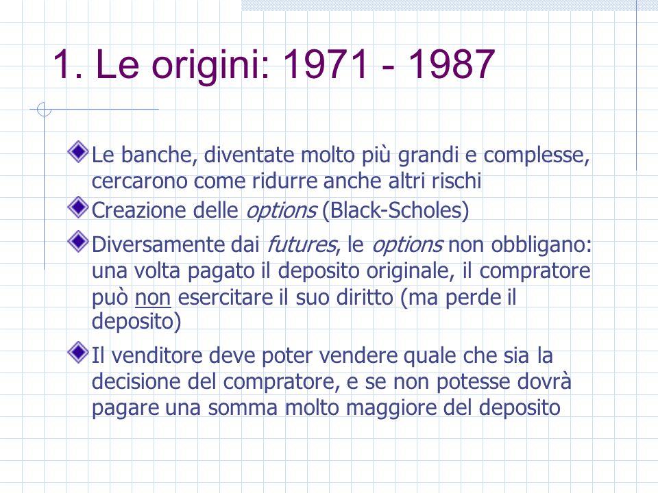 1. Le origini: 1971 - 1987 Le banche, diventate molto più grandi e complesse, cercarono come ridurre anche altri rischi Creazione delle options (Black