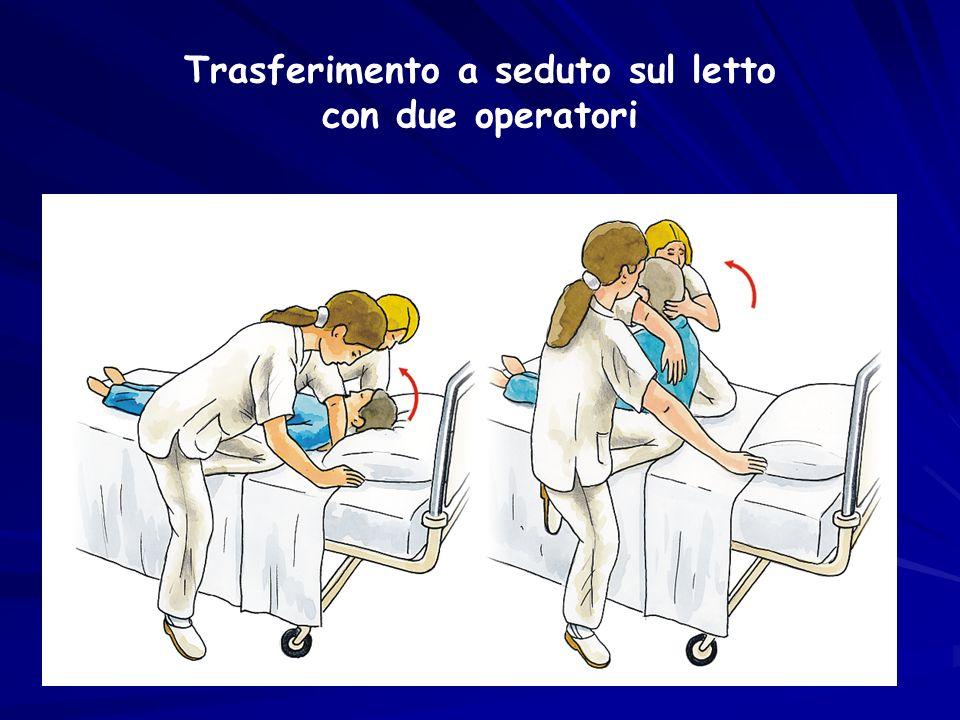 Trasferimento a seduto sul letto con due operatori