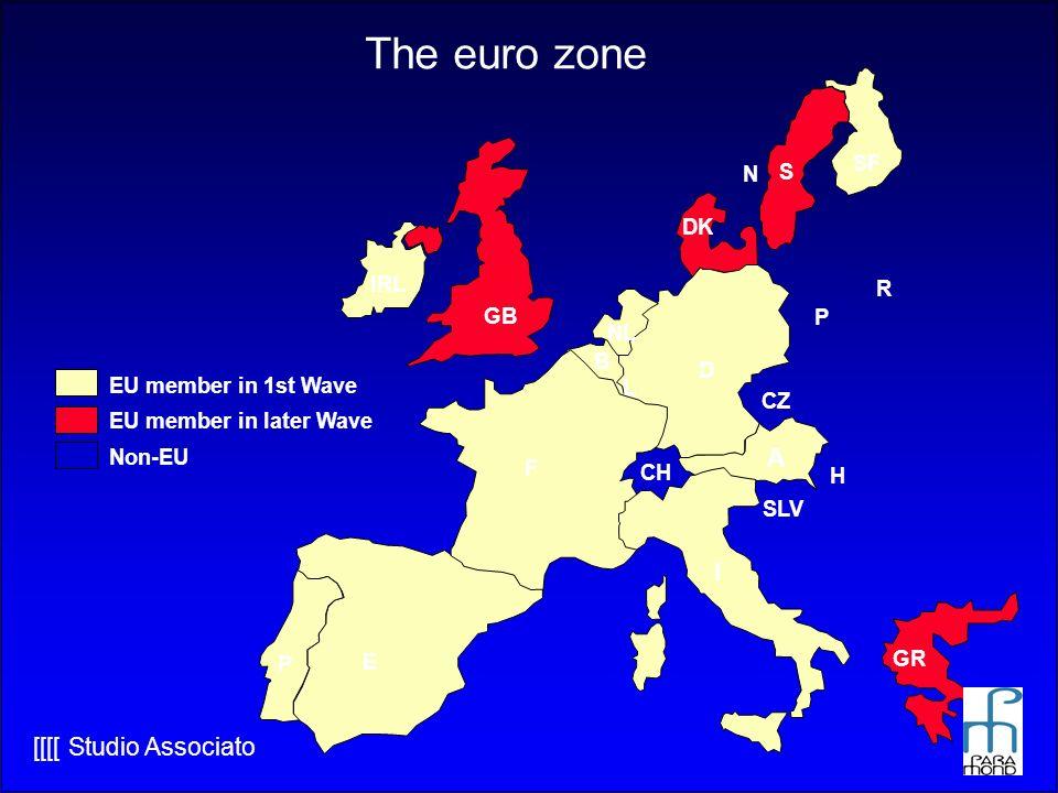 [[[[ Studio Associato The euro zone IRL GB P E F B NL DK D I GR A L S SF EU member in 1st Wave EU member in later Wave Non-EU CH CZ SLV H N P R
