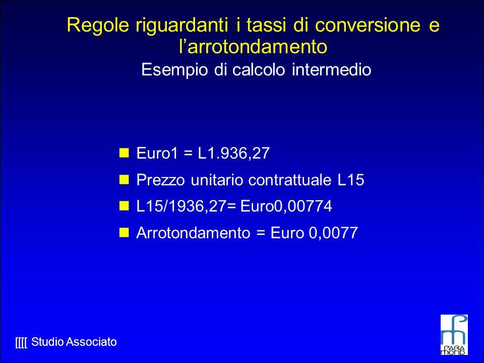 [[[[ Studio Associato Euro1 = L1.936,27 Prezzo unitario contrattuale L15 L15/1936,27= Euro0,00774 Arrotondamento = Euro 0,0077 Regole riguardanti i tassi di conversione e larrotondamento Esempio di calcolo intermedio