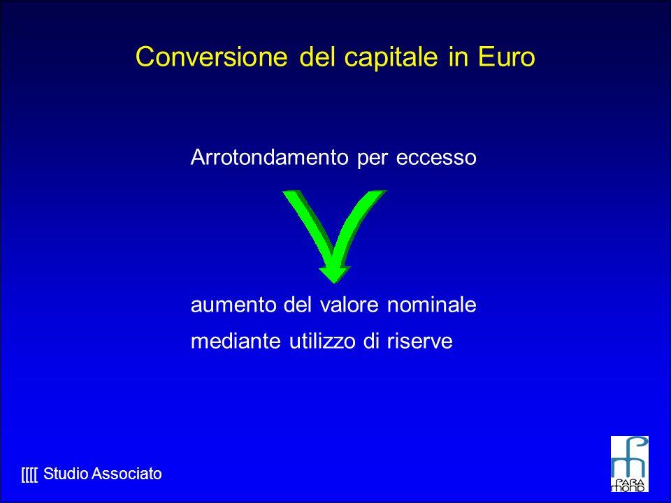 [[[[ Studio Associato Conversione del capitale in Euro Arrotondamento per eccesso aumento del valore nominale mediante utilizzo di riserve