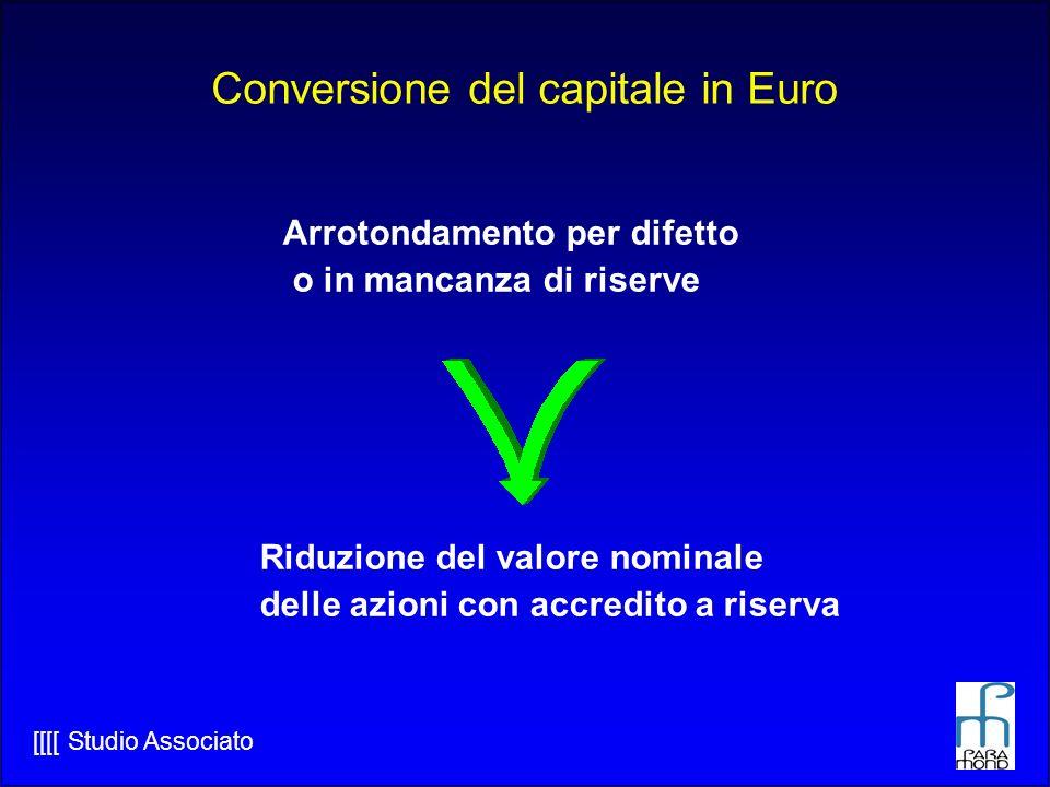 [[[[ Studio Associato Conversione del capitale in Euro Arrotondamento per difetto o in mancanza di riserve Riduzione del valore nominale delle azioni con accredito a riserva