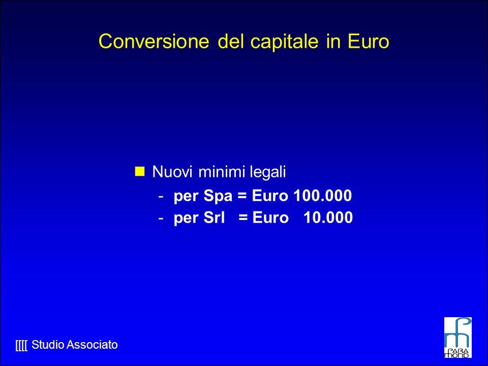 [[[[ Studio Associato Conversione del capitale in Euro Nuovi minimi legali -per Spa = Euro 100.000 -per Srl = Euro 10.000