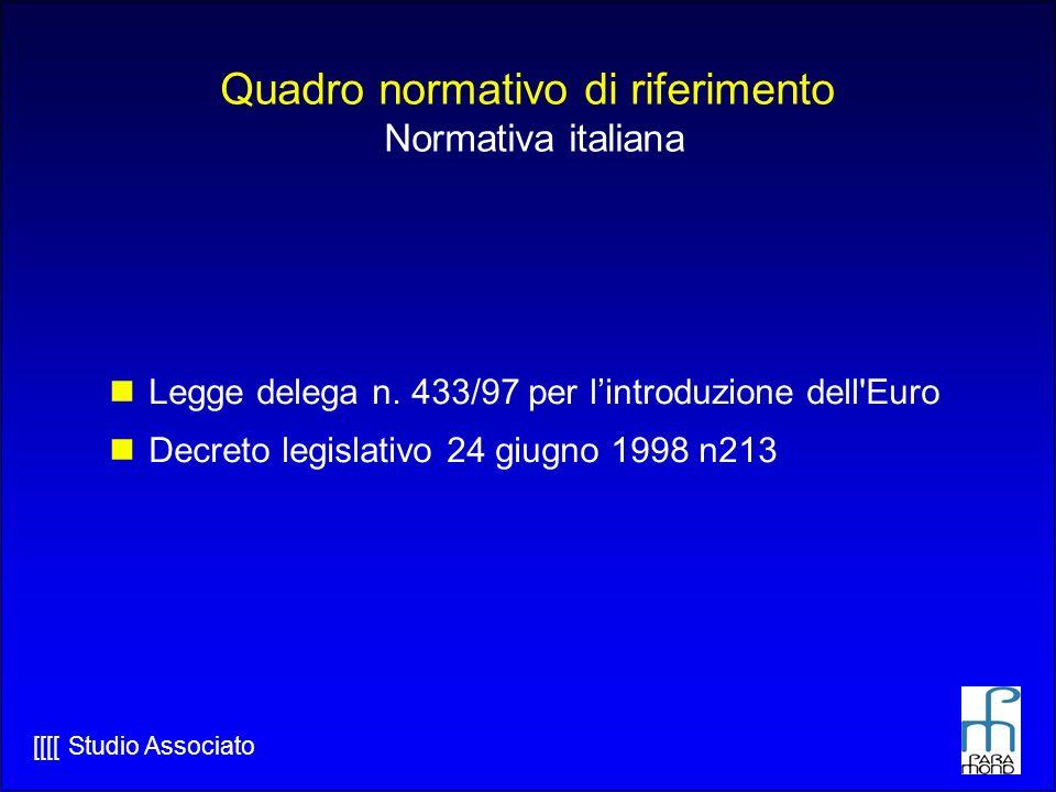 [[[[ Studio Associato Quadro normativo di riferimento Normativa italiana Legge delega n.