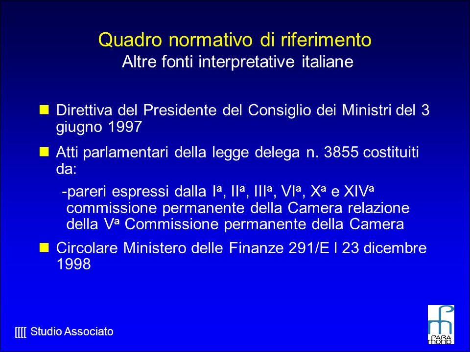 [[[[ Studio Associato Quadro normativo di riferimento Altre fonti interpretative italiane Direttiva del Presidente del Consiglio dei Ministri del 3 giugno 1997 Atti parlamentari della legge delega n.