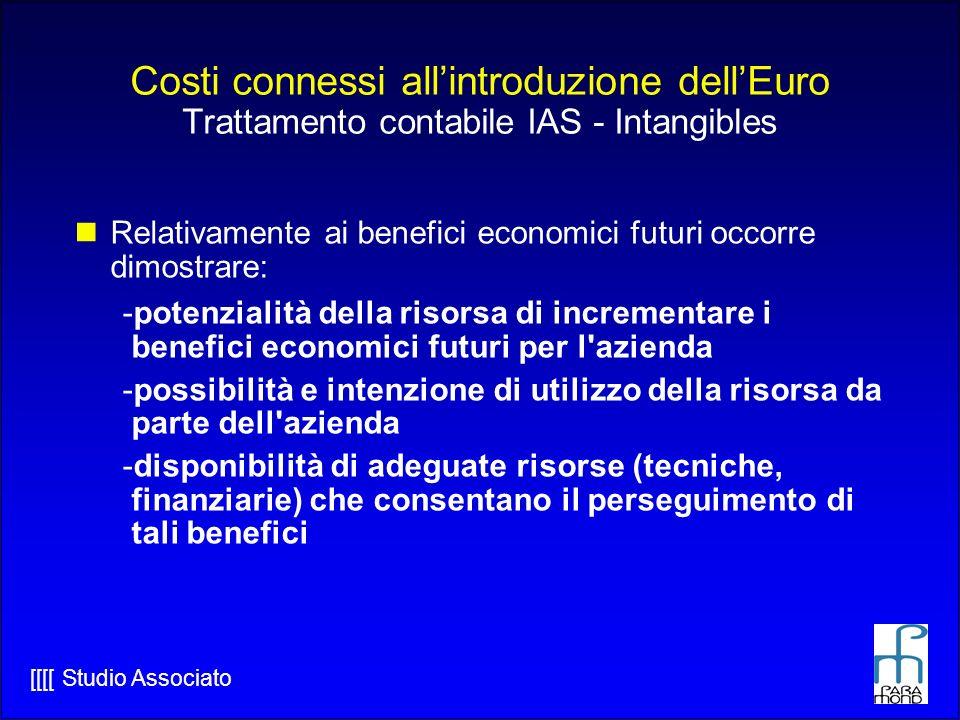[[[[ Studio Associato Costi connessi allintroduzione dellEuro Trattamento contabile IAS - Intangibles Relativamente ai benefici economici futuri occorre dimostrare: -potenzialità della risorsa di incrementare i benefici economici futuri per l azienda -possibilità e intenzione di utilizzo della risorsa da parte dell azienda -disponibilità di adeguate risorse (tecniche, finanziarie) che consentano il perseguimento di tali benefici