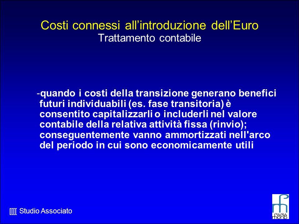 [[[[ Studio Associato Costi connessi allintroduzione dellEuro Trattamento contabile -quando i costi della transizione generano benefici futuri individuabili (es.