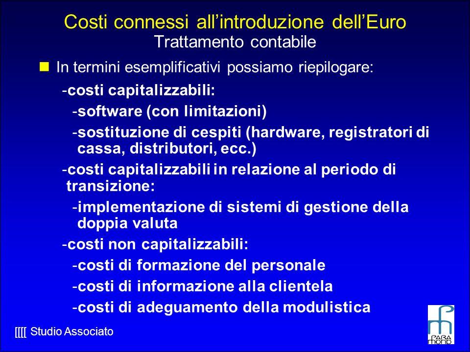 [[[[ Studio Associato Costi connessi allintroduzione dellEuro Trattamento contabile In termini esemplificativi possiamo riepilogare: -costi capitalizzabili: -software (con limitazioni) -sostituzione di cespiti (hardware, registratori di cassa, distributori, ecc.) -costi capitalizzabili in relazione al periodo di transizione: -implementazione di sistemi di gestione della doppia valuta -costi non capitalizzabili: -costi di formazione del personale -costi di informazione alla clientela -costi di adeguamento della modulistica