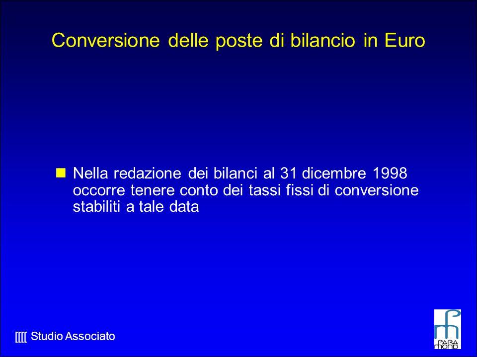 [[[[ Studio Associato Conversione delle poste di bilancio in Euro Nella redazione dei bilanci al 31 dicembre 1998 occorre tenere conto dei tassi fissi di conversione stabiliti a tale data