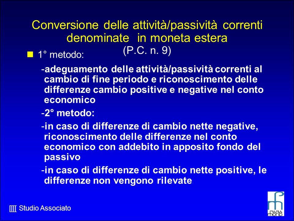 [[[[ Studio Associato Conversione delle attività/passività correnti denominate in moneta estera (P.C.