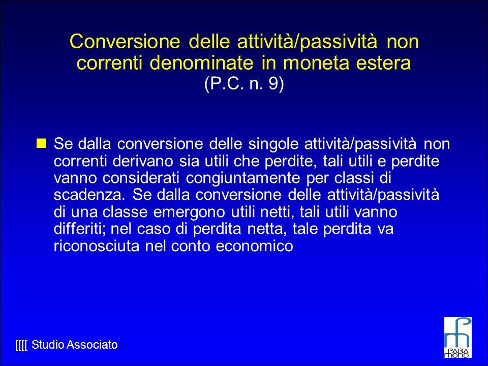 [[[[ Studio Associato Conversione delle attività/passività non correnti denominate in moneta estera (P.C.
