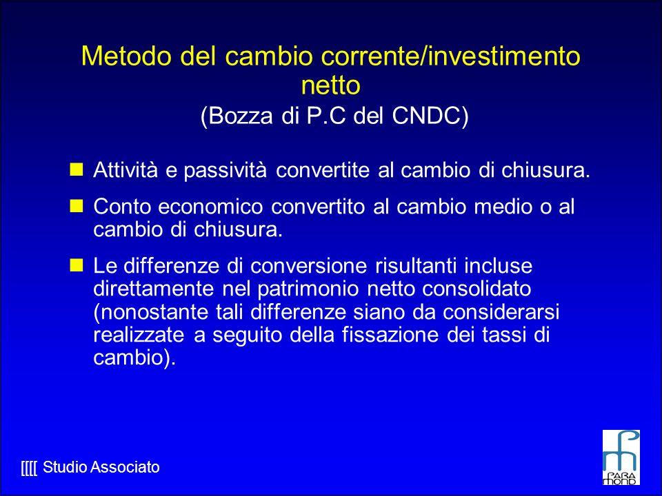 [[[[ Studio Associato Metodo del cambio corrente/investimento netto (Bozza di P.C del CNDC) Attività e passività convertite al cambio di chiusura.
