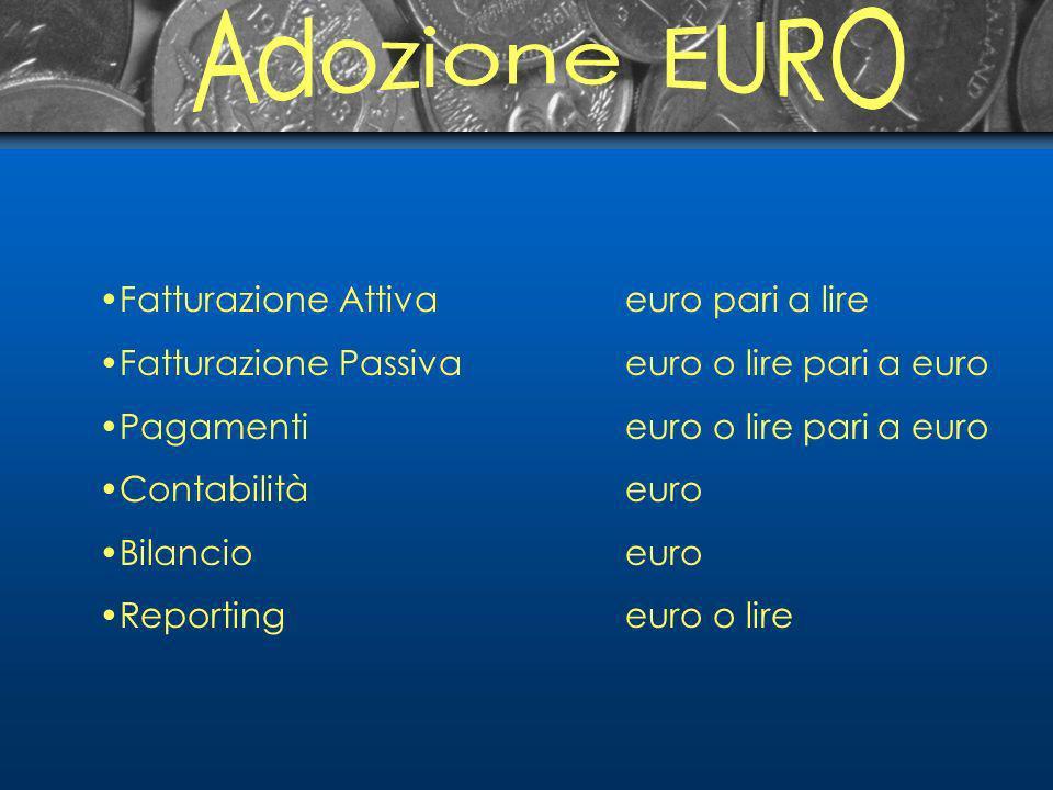 Fatturazione Attivaeuro pari a lire Fatturazione Passivaeuro o lire pari a euro Pagamenti euro o lire pari a euro Contabilitàeuro Bilancioeuro Reportingeuro o lire