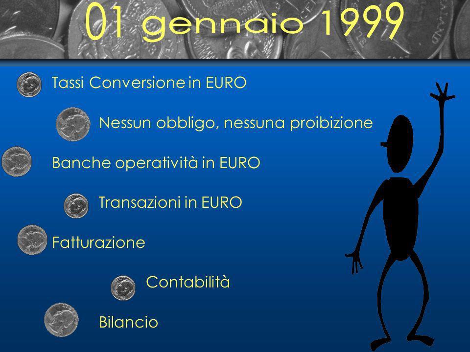 Tassi Conversione in EURO Nessun obbligo, nessuna proibizione Banche operatività in EURO Transazioni in EURO Fatturazione Contabilità Bilancio