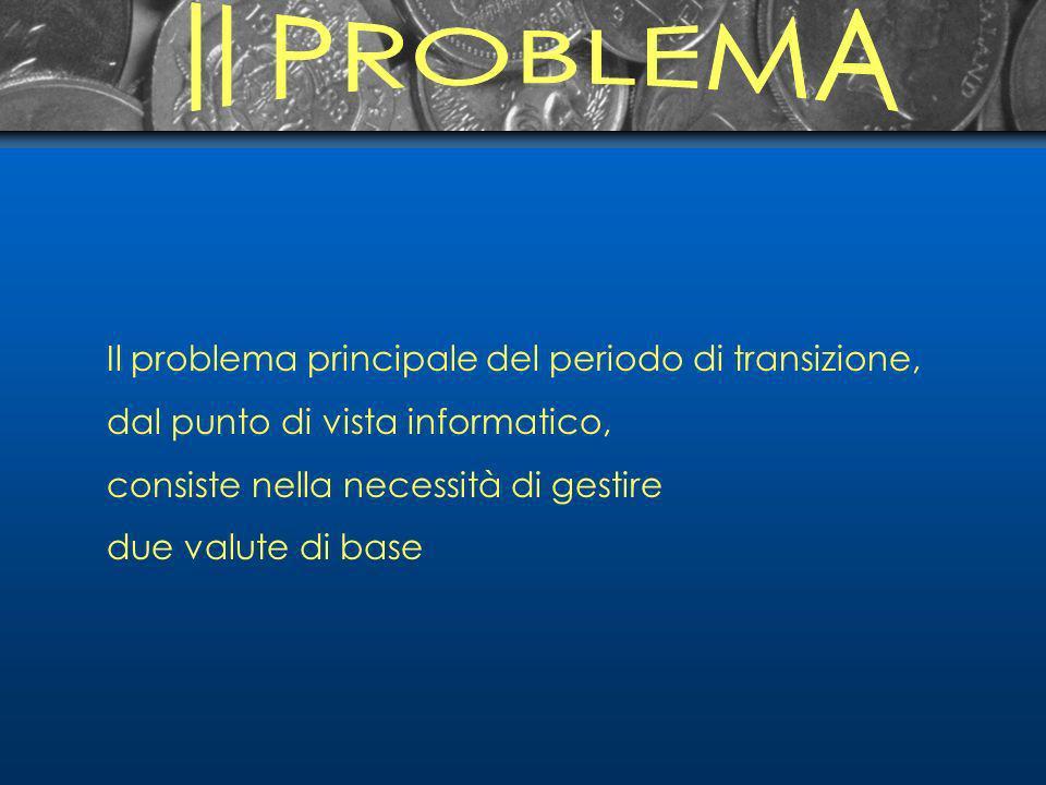 Il problema principale del periodo di transizione, dal punto di vista informatico, consiste nella necessità di gestire due valute di base