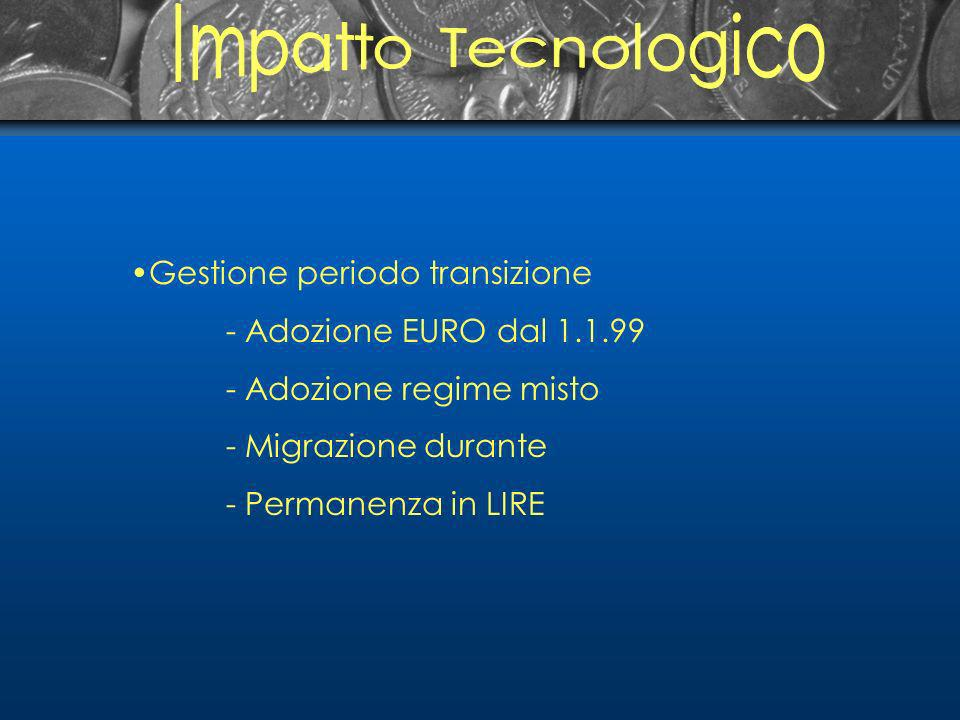 Gestione periodo transizione - Adozione EURO dal 1.1.99 - Adozione regime misto - Migrazione durante - Permanenza in LIRE