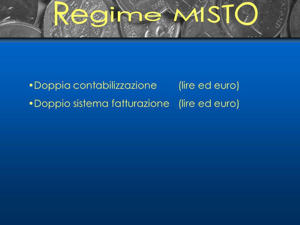 Doppia contabilizzazione(lire ed euro) Doppio sistema fatturazione(lire ed euro)
