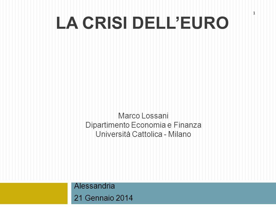 1 Marco Lossani Dipartimento Economia e Finanza Università Cattolica - Milano Alessandria 21 Gennaio 2014 LA CRISI DELLEURO