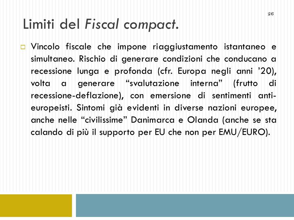 26 Limiti del Fiscal compact. Vincolo fiscale che impone riaggiustamento istantaneo e simultaneo. Rischio di generare condizioni che conducano a reces