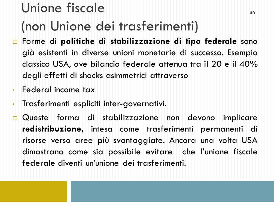 29 Unione fiscale (non Unione dei trasferimenti) Forme di politiche di stabilizzazione di tipo federale sono già esistenti in diverse unioni monetarie