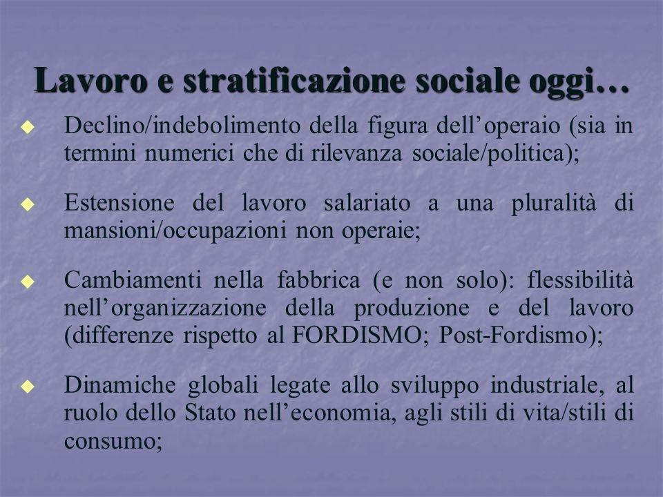 Lavoro e stratificazione sociale oggi… u u Declino/indebolimento della figura delloperaio (sia in termini numerici che di rilevanza sociale/politica);
