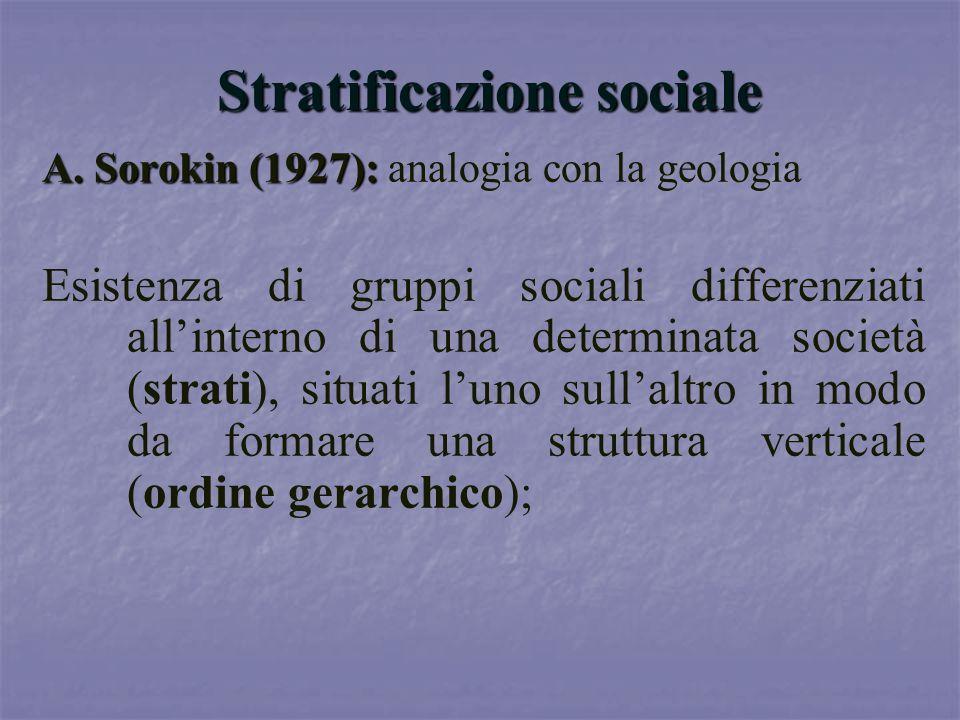 Stratificazione sociale A. Sorokin (1927): A. Sorokin (1927): analogia con la geologia Esistenza di gruppi sociali differenziati allinterno di una det