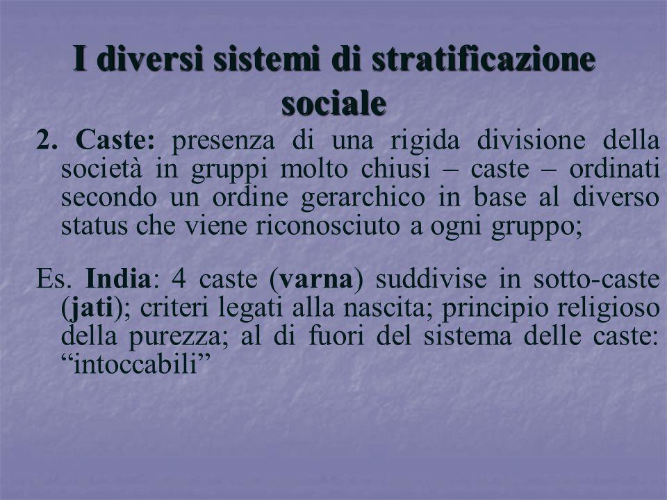 I diversi sistemi di stratificazione sociale 2. Caste: presenza di una rigida divisione della società in gruppi molto chiusi – caste – ordinati second
