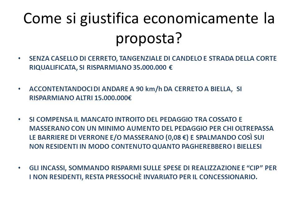 Come si giustifica economicamente la proposta? SENZA CASELLO DI CERRETO, TANGENZIALE DI CANDELO E STRADA DELLA CORTE RIQUALIFICATA, SI RISPARMIANO 35.