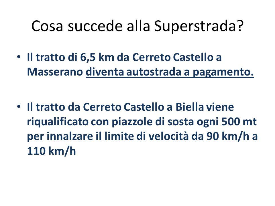 Cosa succede alla Superstrada? Il tratto di 6,5 km da Cerreto Castello a Masserano diventa autostrada a pagamento. Il tratto da Cerreto Castello a Bie
