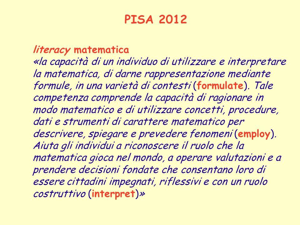 PISA 2012 literacy matematica «la capacità di un individuo di utilizzare e interpretare la matematica, di darne rappresentazione mediante formule, in