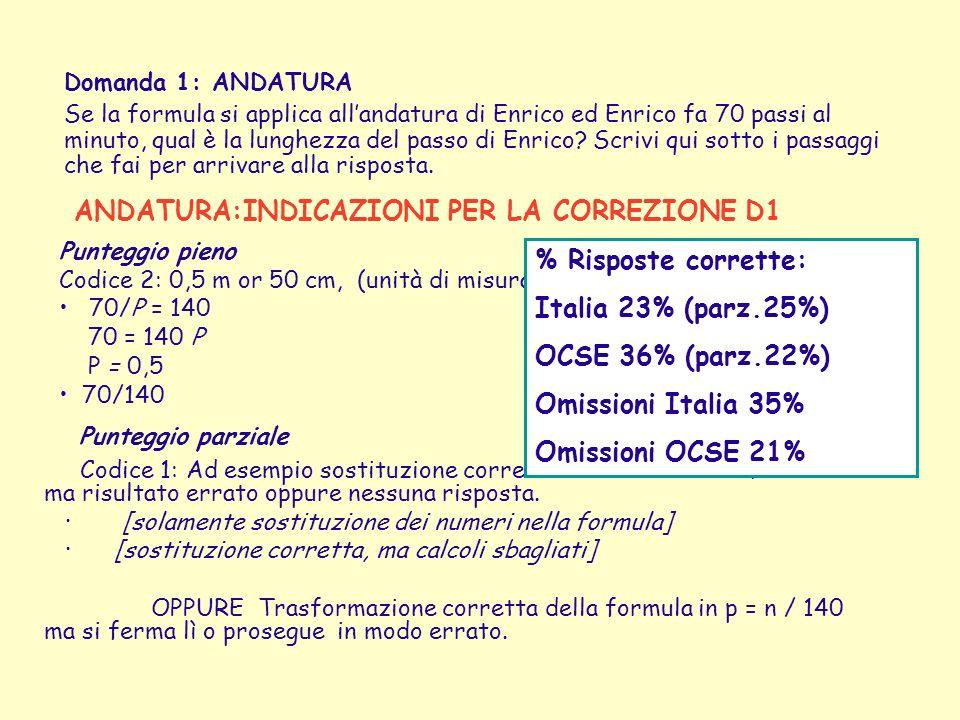 ANDATURA:INDICAZIONI PER LA CORREZIONE D1 Punteggio parziale Codice 1: Ad esempio sostituzione corretta dei numeri nella formula ma risultato errato o