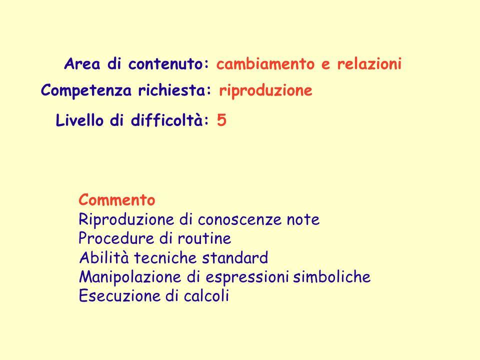 Area di contenuto: cambiamento e relazioni Competenza richiesta: riproduzione Commento Riproduzione di conoscenze note Procedure di routine Abilità te