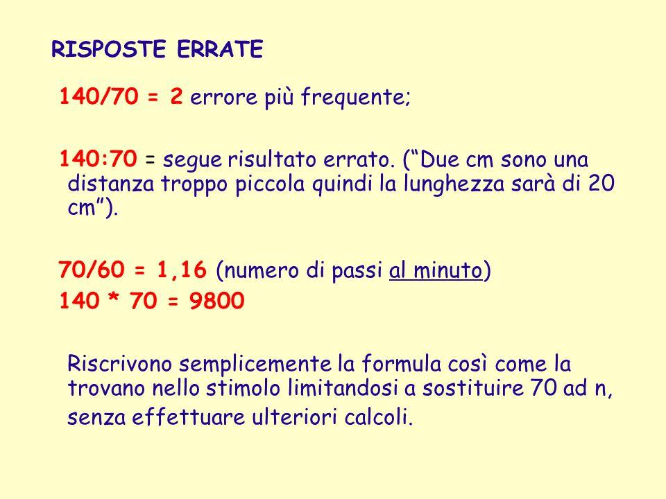 140/70 = 2 errore più frequente; 140:70 = segue risultato errato. (Due cm sono una distanza troppo piccola quindi la lunghezza sarà di 20 cm). 70/60 =