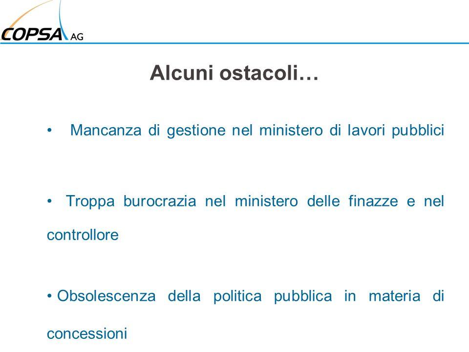 Alcuni ostacoli… Mancanza di gestione nel ministero di lavori pubblici Troppa burocrazia nel ministero delle finazze e nel controllore Obsolescenza de