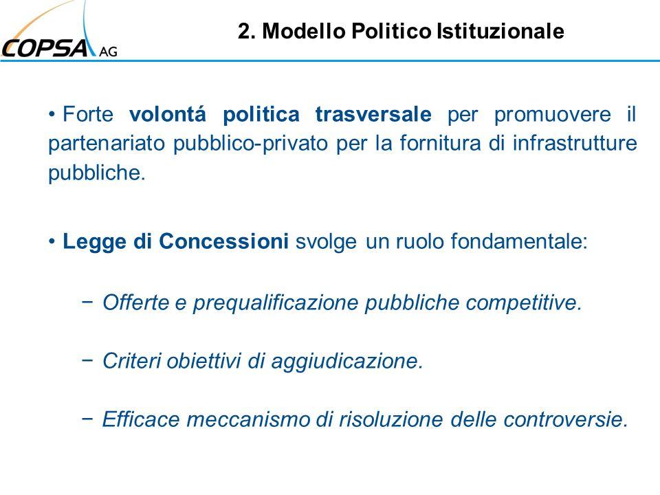 2. Modello Politico Istituzionale Forte volontá politica trasversale per promuovere il partenariato pubblico-privato per la fornitura di infrastruttur