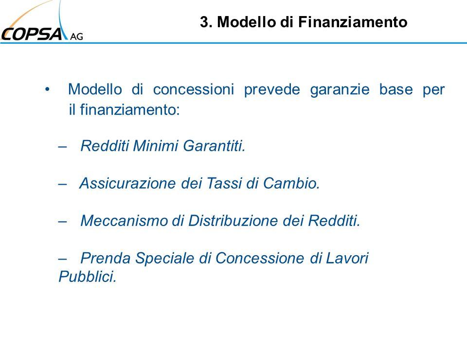 Modello di concessioni prevede garanzie base per il finanziamento: 3. Modello di Finanziamento – Redditi Minimi Garantiti. – Assicurazione dei Tassi d