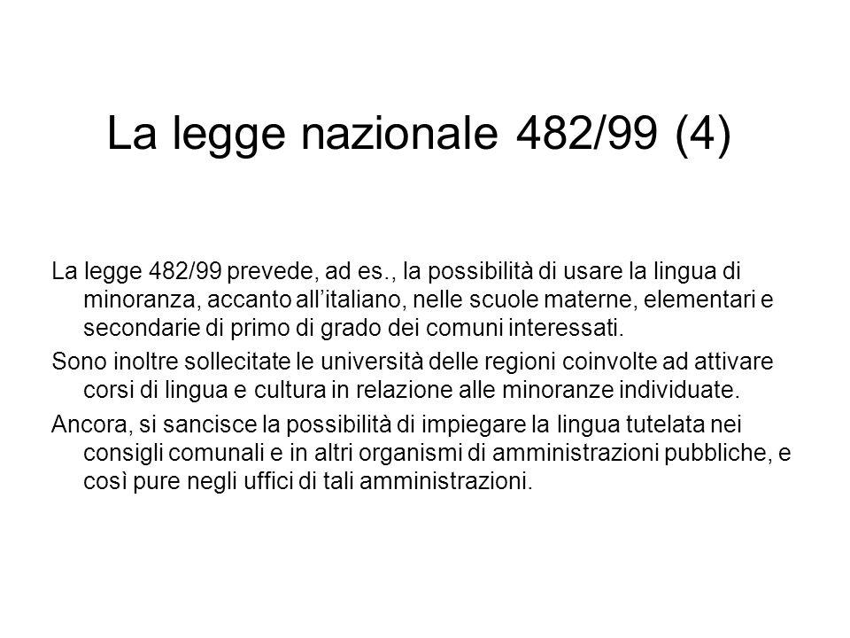 La legge nazionale 482/99 (4) La legge 482/99 prevede, ad es., la possibilità di usare la lingua di minoranza, accanto allitaliano, nelle scuole mater