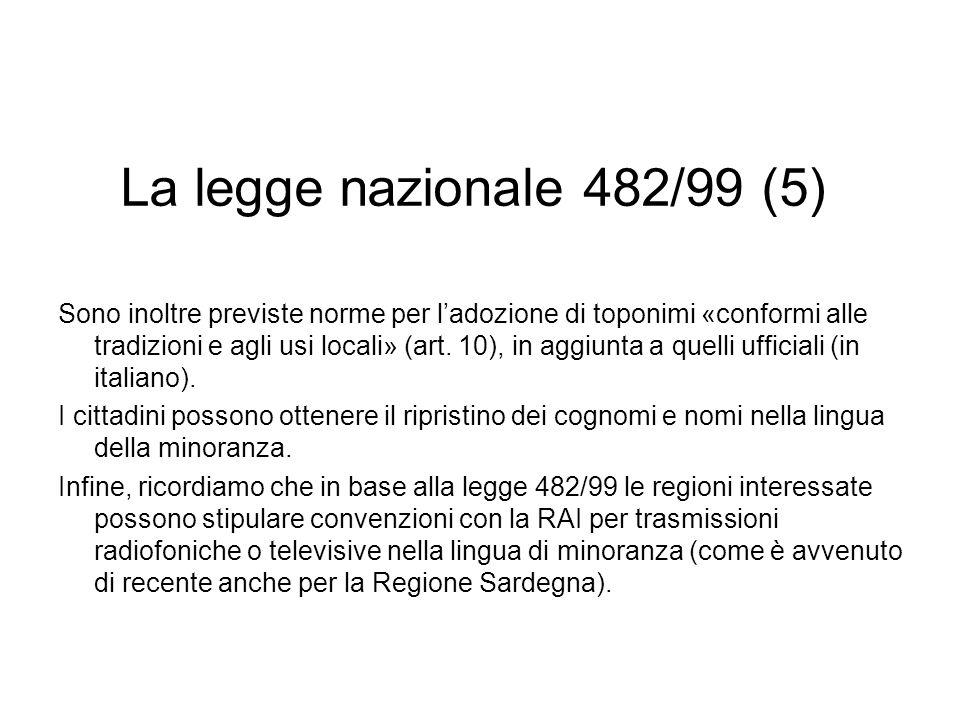 La legge nazionale 482/99 (5) Sono inoltre previste norme per ladozione di toponimi «conformi alle tradizioni e agli usi locali» (art. 10), in aggiunt