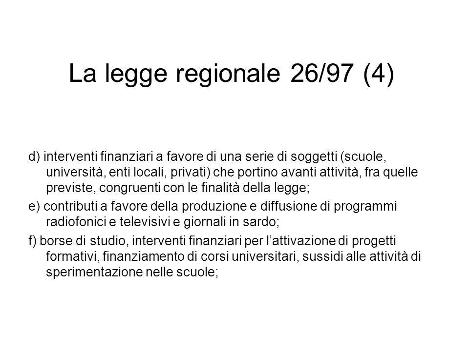 La legge regionale 26/97 (5) g) disposizioni a favore delluso della lingua sarda nella pubblica amministrazione; h) interventi, attraverso contributi agli enti locali, per il ripristino dei toponimi in lingua sarda; i) interventi a favore della cultura sarda fuori dalla Sardegna e allestero (ad es.