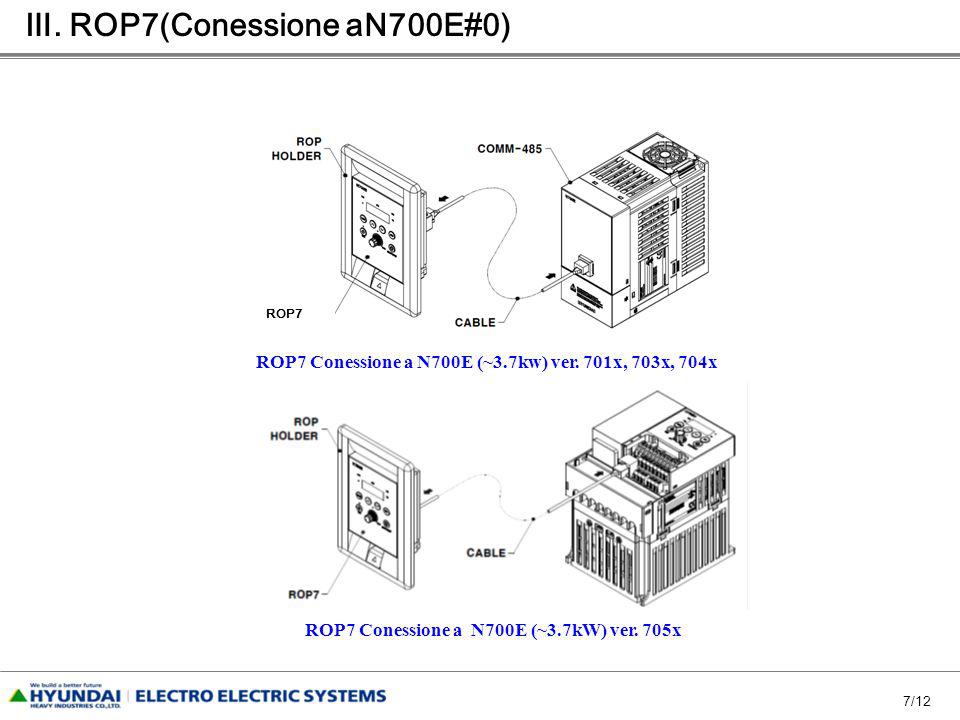7/12 ROP7 ROP7 Conessione a N700E (~3.7kw) ver. 701x, 703x, 704x ROP7 Conessione a N700E (~3.7kW) ver. 705x. ROP7(Conessione aN700E#0)