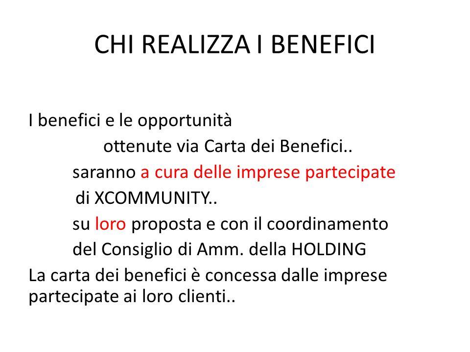 CHI REALIZZA I BENEFICI I benefici e le opportunità ottenute via Carta dei Benefici..