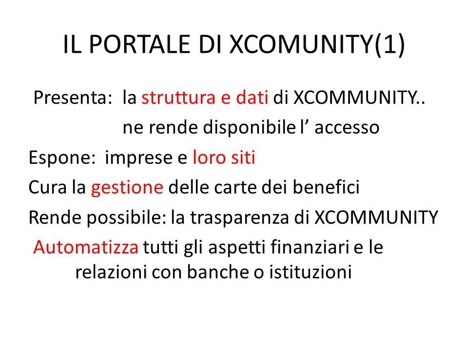 IL PORTALE DI XCOMUNITY(1) Presenta: la struttura e dati di XCOMMUNITY..