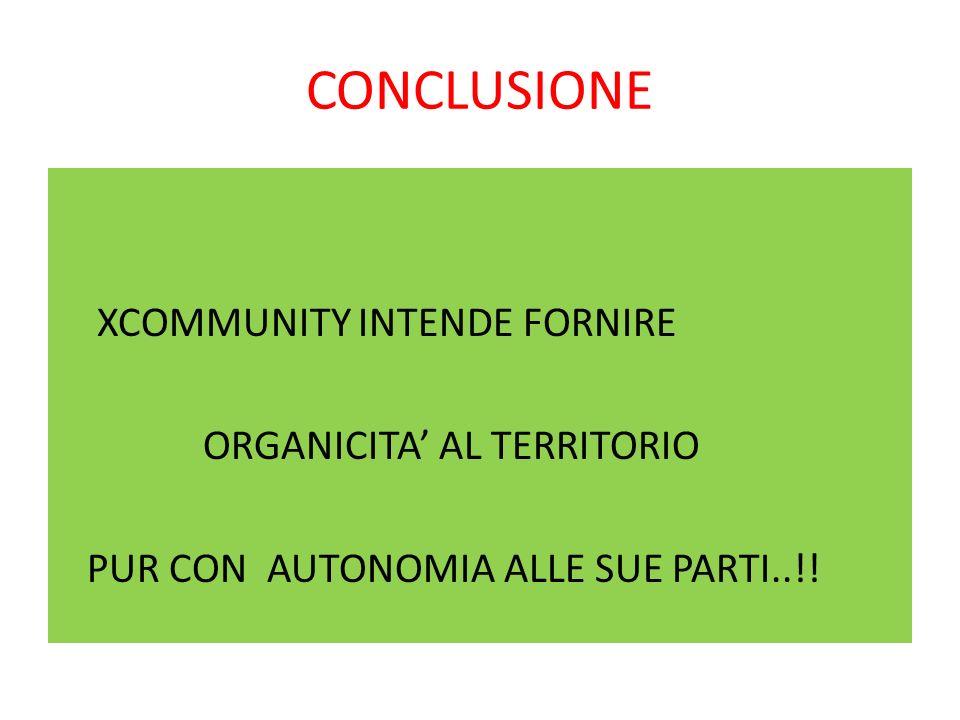 CONCLUSIONE XCOMMUNITY INTENDE FORNIRE ORGANICITA AL TERRITORIO PUR CON AUTONOMIA ALLE SUE PARTI..!!