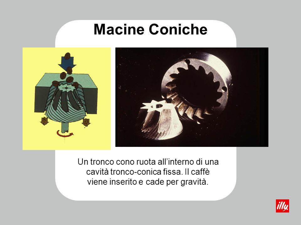 Un tronco cono ruota allinterno di una cavità tronco-conica fissa. Il caffè viene inserito e cade per gravità. Macine Coniche