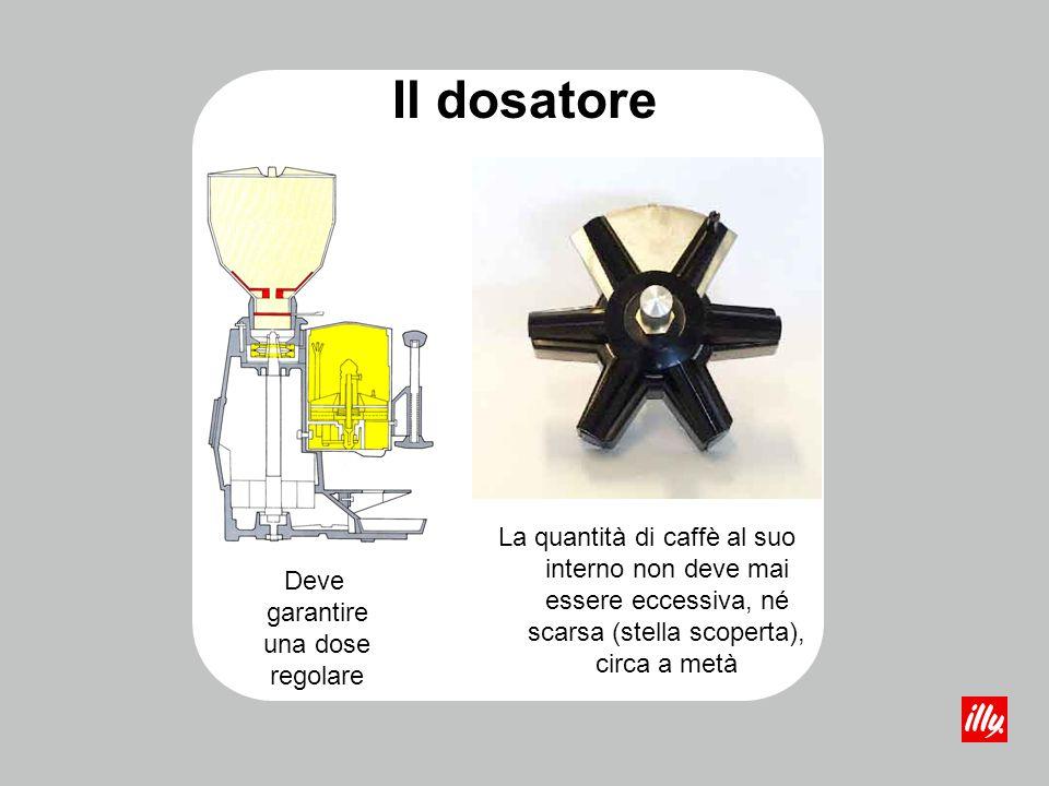 Il dosatore La quantità di caffè al suo interno non deve mai essere eccessiva, né scarsa (stella scoperta), circa a metà Deve garantire una dose regol