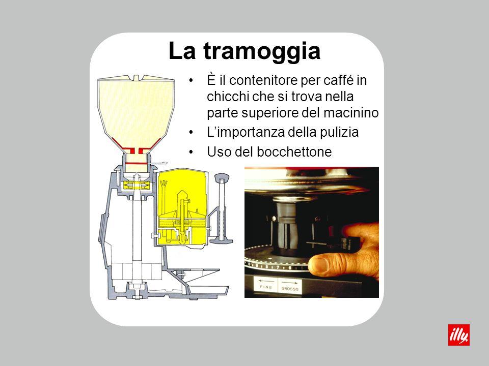 La tramoggia È il contenitore per caffé in chicchi che si trova nella parte superiore del macinino Limportanza della pulizia Uso del bocchettone
