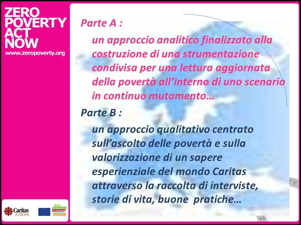 Parte A : un approccio analitico finalizzato alla costruzione di una strumentazione condivisa per una lettura aggiornata della povertà allinterno di u