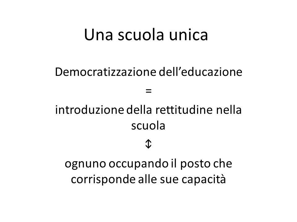 Una scuola unica Democratizzazione delleducazione = introduzione della rettitudine nella scuola ognuno occupando il posto che corrisponde alle sue capacità
